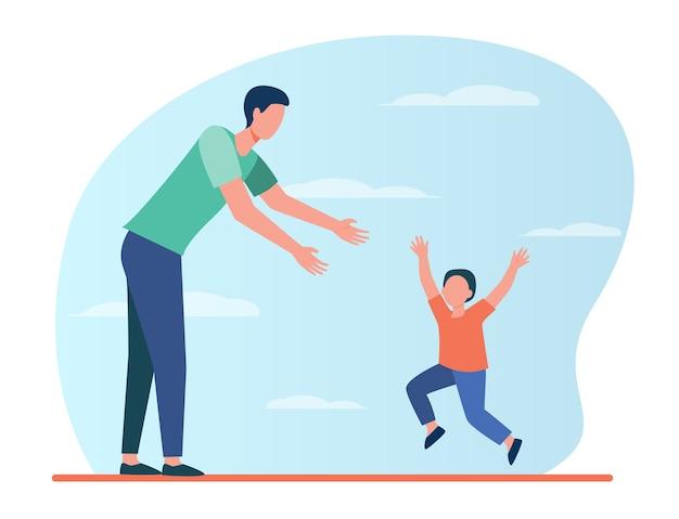 Mały chłopiec biegnący do swojego taty. ojciec i syn, ciesząc się spotkaniem płaskiej ilustracji.