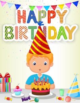 Mały chłopiec dmuchanie świeczki urodzinowe