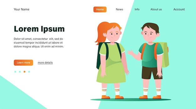Mały chłopiec i dziewczynka rozmawiają ze sobą. uczeń, plecak, szkoła płaska wektorowa ilustracja. projekt strony internetowej lub strony docelowej przyjaźni i dzieciństwa