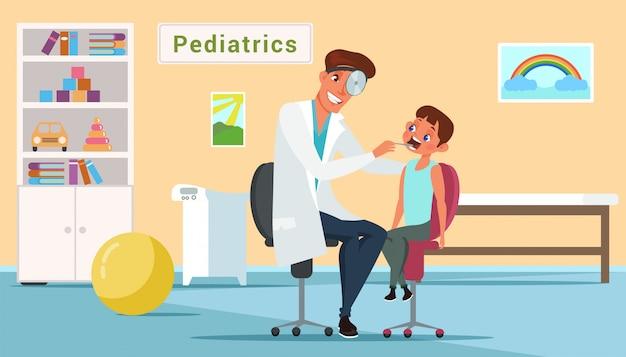 Mały chłopiec i lekarz w płaskiej ilustracji gabinetu pediatrii