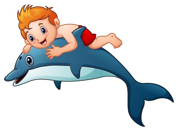 Mały chłopiec kreskówka konna delfiny