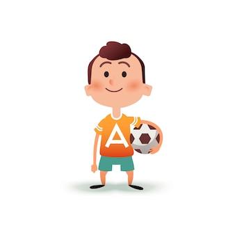 Mały chłopiec kreskówka trzyma piłkę w ręku