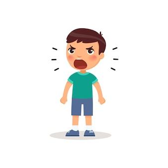 Mały chłopiec krzyczy. ilustracja wektorowa stylu kreskówki