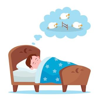 Mały chłopiec, leżąc w łóżku i licząc owce