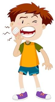 Mały chłopiec ma ból zęba