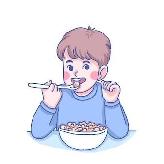Mały chłopiec o śniadanie