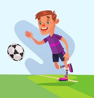 Mały chłopiec postać grać w piłkę nożną. ilustracja kreskówka płaski wektor