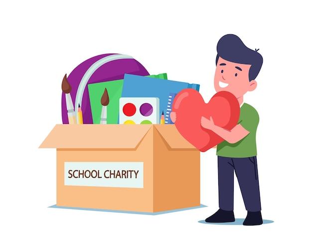 Mały chłopiec sierota postać z wielkim sercem w dłoniach stoi przy pudełku na darowizny ze szkolnymi rzeczami, książkami i papeterią. działalność charytatywna, opieka społeczna i pomoc ubogim dzieciom. ilustracja wektorowa kreskówka ludzie