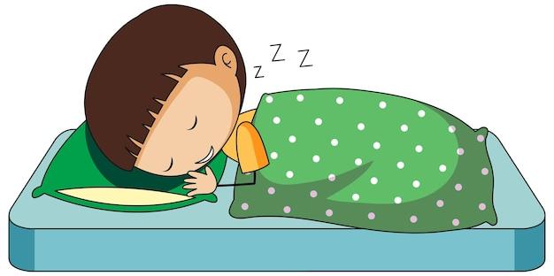 Mały chłopiec śpi doodle kreskówka na białym tle