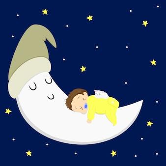 Mały chłopiec śpi na szczycie księżyca w gwiaździstą noc