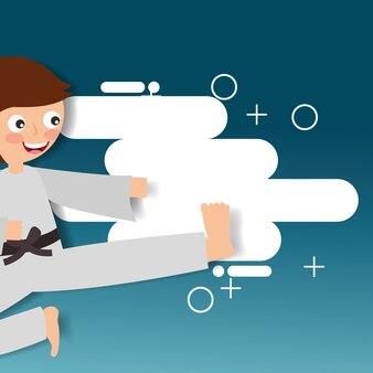 Mały chłopiec trenuje karate sztuki walki sport dzieci
