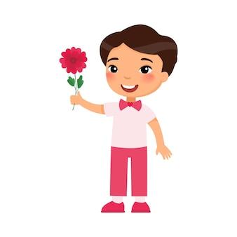 Mały chłopiec trzyma ilustracja kwiat
