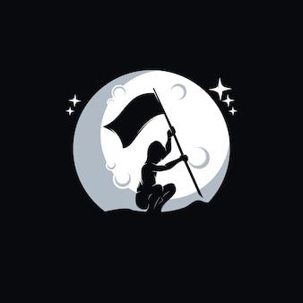 Mały chłopiec trzymający flagę na księżycu