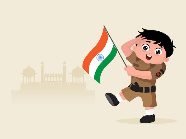 Mały chłopiec ubrany jak indyjski żołnierz armii z flagą.