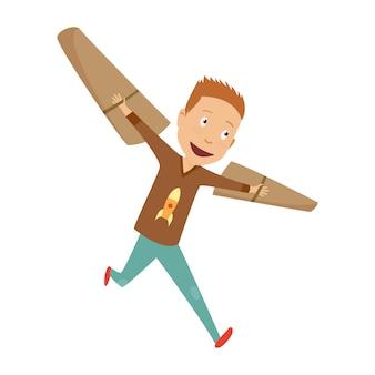 Mały chłopiec w stroju pilota marzy o pilotowaniu samolotu