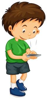 Mały chłopiec wybiera numer na telefon