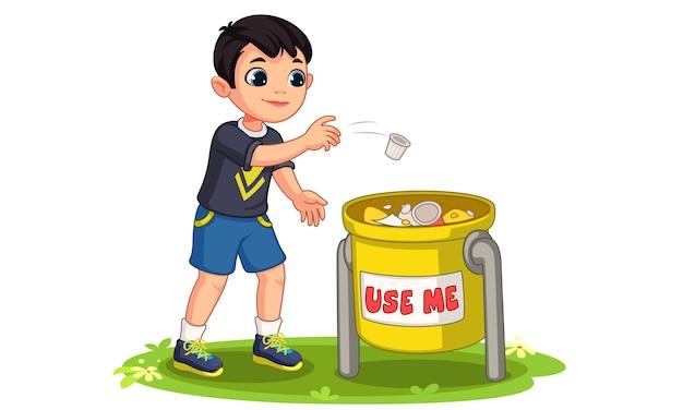 Mały chłopiec wyrzucanie śmieci w ilustracji kosza na śmieci
