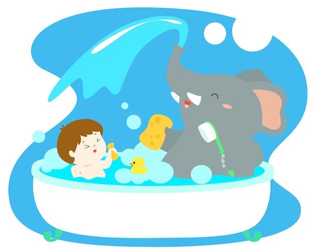 Mały chłopiec wziąć kąpiel z słoniem w wannie