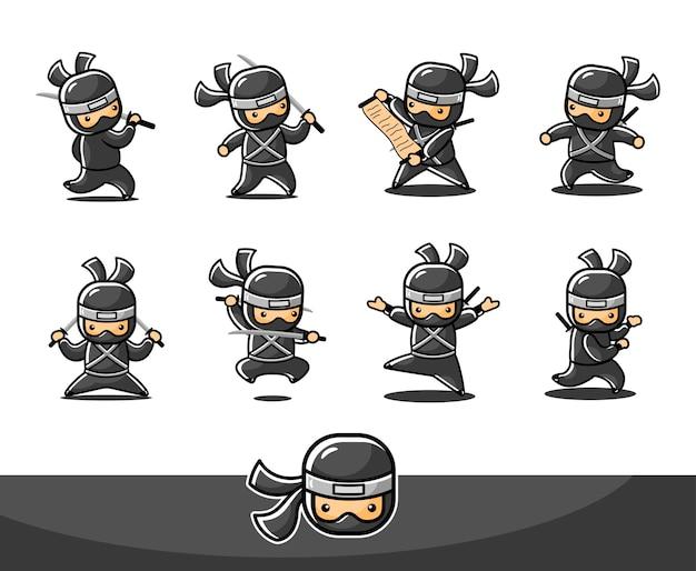 Mały czarny ninja z ośmioma różnymi pozami i działaniami