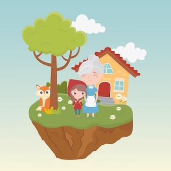 Mały czerwony kapturek babcia wilk dom drzewo kwiaty trawa bajka ilustracja kreskówka