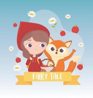 Mały czerwony kapturek jabłka wilka i kwiaty z koszem bajki z życzeniami kreskówek