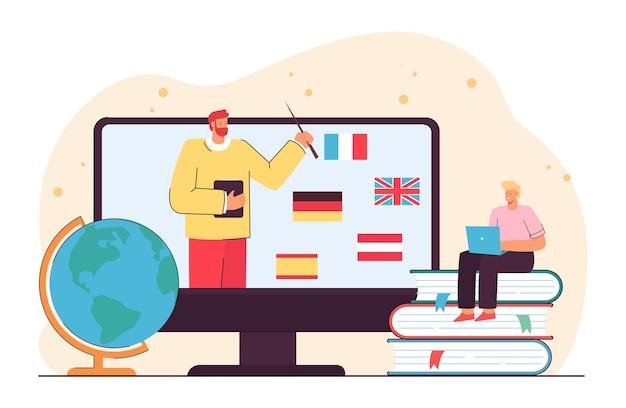 Mały człowiek uczący się języków obcych online. płaska ilustracja