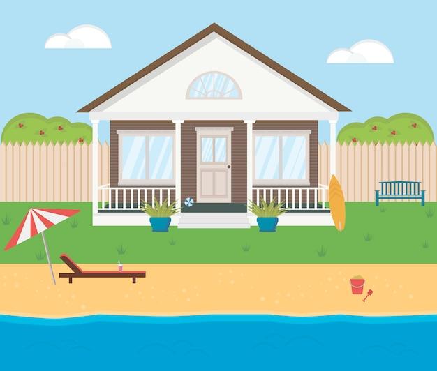 Mały dom na plaży. brzeg morza, rzeki, jeziora. motyw letni drewniany budynek na wakacje. przytulny dom mieszkalny.