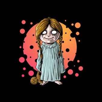 Mały duch niosący ilustrację lalki
