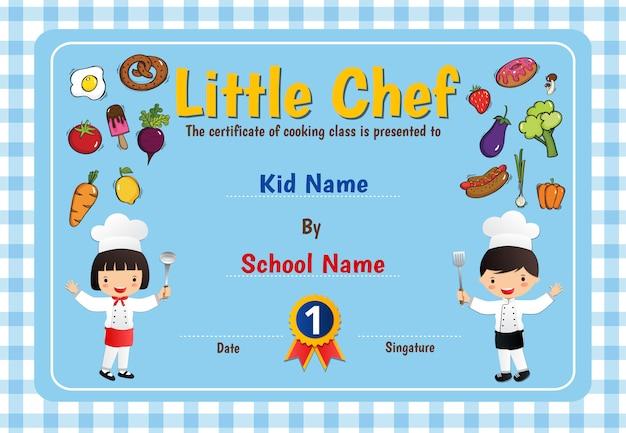 Mały dyplom dyplomowy kucharza