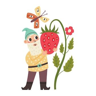 Mały gnom przytula truskawkę. krasnoludek z bajki ogrodowej. nowoczesna ilustracja wektorowa w stylu płaskiej kreskówki