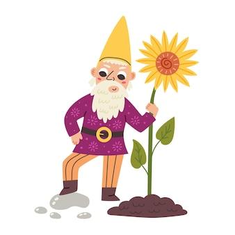 Mały gnom trzyma słonecznik. krasnoludek z bajki ogrodowej. nowoczesna ilustracja wektorowa w stylu płaskiej kreskówki