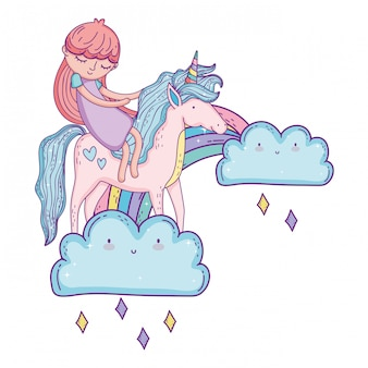 Mały jednorożec i księżniczka w chmurach