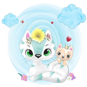 Mały kot malowany akwarelą