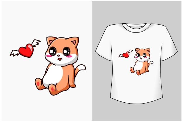 Mały kot z ilustracja kreskówka ładny miłość