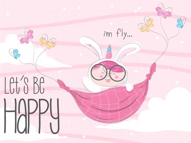 Mały króliczek latający ręcznie rysowane ilustracji wektorowych