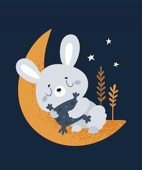 Mały króliczek śpi na księżycu. dobranoc i słodkich snów, maleńka