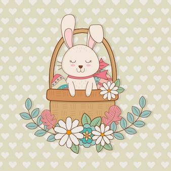 Mały królik z koszykowym easter charakterem