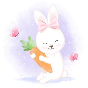 Mały królik z marchewką i motylami