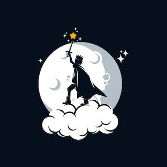 Mały książę gra mieczem, łapiąc gwiazdę