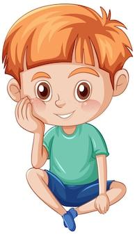 Mały ładny chłopiec postać z kreskówki na białym tle