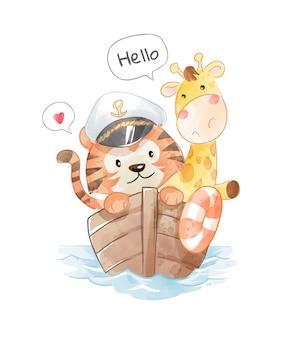 Mały ładny kapitan tygrys i żyrafa na ilustracji łodzi drewna
