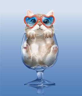 Mały ładny kotek w ilustracji przezroczystego szkła winorośli