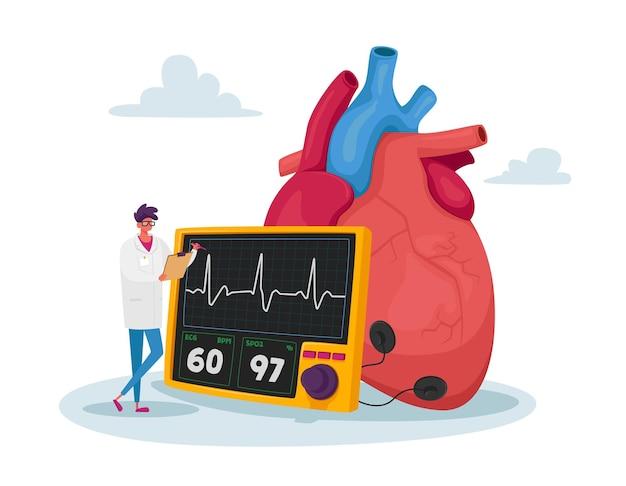 Mały lekarz postać stoi na ogromnym tętnie pomiaru ludzkiego serca