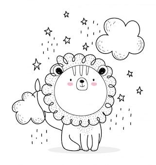 Mały lew chmury gwiazdy słodkie zwierzęta szkic przyrody kreskówka urocza