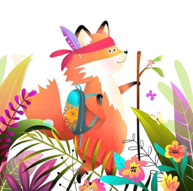 Mały lis spacerujący lub wędrujący z kijem w bujnej naturze lasu lub parku, przygody dla dzieci z kreskówek zwierząt, jasne i kolorowe.