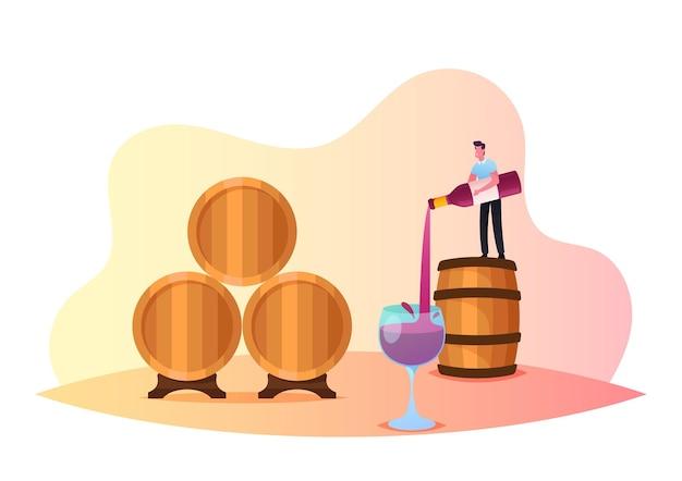 Mały męski charakter stojący na ogromnej beczce nalewający wino w szkle