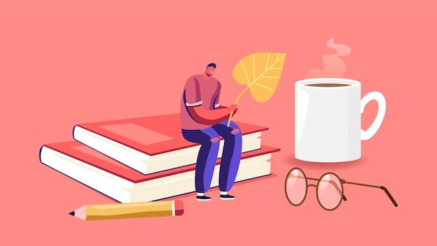 Mały męski charakter trzymający opadły jesienny liść siedzący na ogromnym stosie książek z parującym kubkiem, ołówkiem i okularami wokół