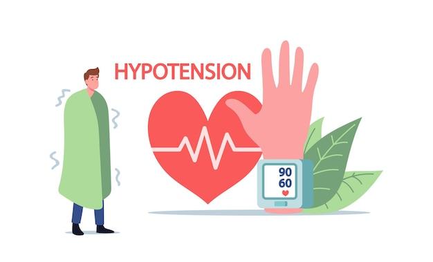 Mały męski charakter z objawem gorączki niedociśnienia w ogromnej dłoni z mankietem tonometru nadgarstka pomiaru ciśnienia tętniczego krwi. choroba, badanie kardiologiczne opieki zdrowotnej. ilustracja wektorowa kreskówka ludzie