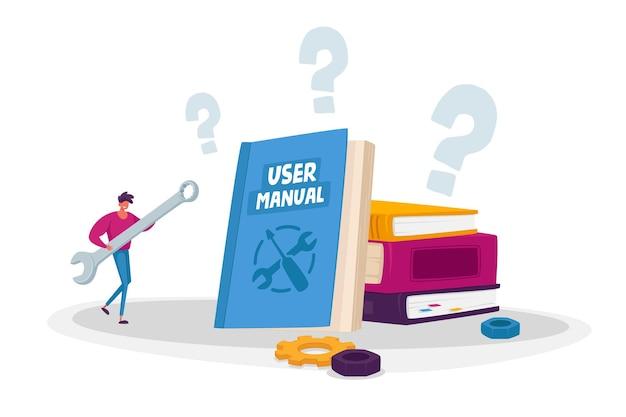 Mały męski charakter z ogromnym kluczem do czytania broszura z instrukcją obsługi, wymagania dotyczące specyfikacji dokumentu, instrukcja dla użytkownika, informacje. mężczyzna trzyma ogromny klucz
