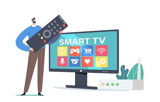 Mały męski charakter z ogromnym stoiskiem zdalnego sterowania na ogromnym telewizorze z smart tv. połączone z siecią urządzenie interaktywne, innowacyjne technologie rozrywkowe. ilustracja wektorowa kreskówka ludzie
